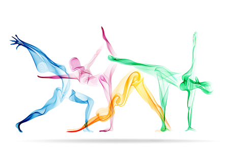 Abstract womans silhouette yoga pose 版權商用圖片
