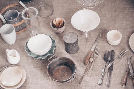 Vintage kitchen utensils on grey fabric, collection of utensils 스톡 콘텐츠