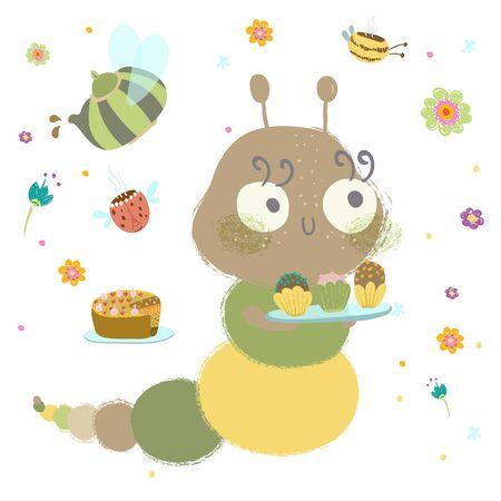 Caterpillar with cupcakes