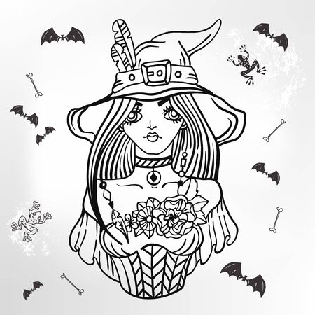 Beautiful lady Witch, woman over Halloween  for Holiday Design