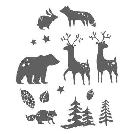Forest animals silhouettes over white  for beautiful design