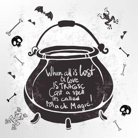 Halloween Hand drawn art with cauldron