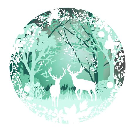 Woodland deer paper cut style, modern