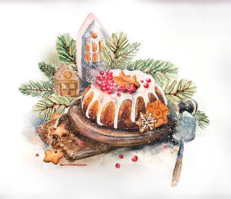 Weihnachts-Aquarell-Stillleben mit Süßigkeiten