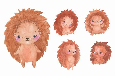 Watercolor hedgehogs set, Children Animal clipart, different poses and emotions for scrap booking Фото со стока