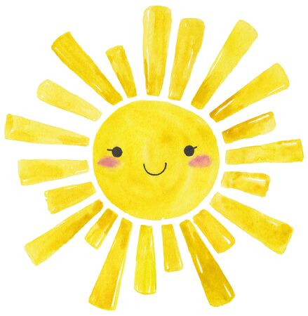 Yellow Watercolor sun, cartoon illustration over white background