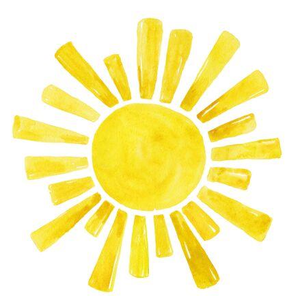 Yellow  sun, cartoon  over white 写真素材