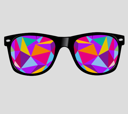 sunglasses reflection: sunglasses with abstract geometric triangles  vector background  Illustration