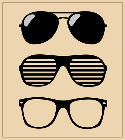 set of sunglasses  vector illustration background  Çizim