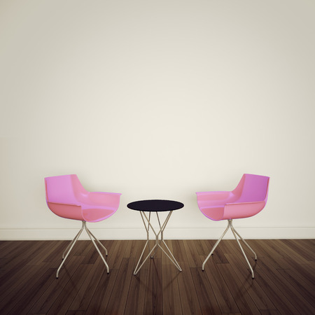bar chair: modern interior table and chairs. 3d image