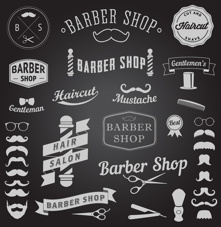 set of barbershop design icons  Vector templates for your design