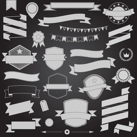 Big set retro design ribbons and badge Vector design elements