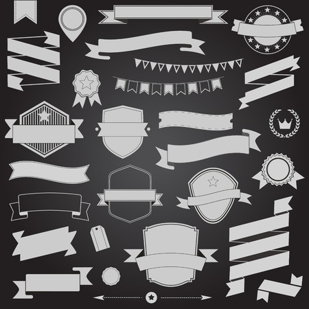 ripply: Big set retro design ribbons and badge Vector design elements