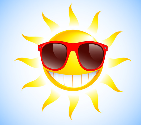 Funny sun with sunglasses  Vector illustration background  Illustration