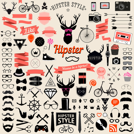 retro fashion: Huge set of vintage styled design hipster icons  Vector signs and symbols templates for your design The largest set of bicycle, phone, gadgets, sunglasses, mustache, anchor, ribbons and other things Illustration
