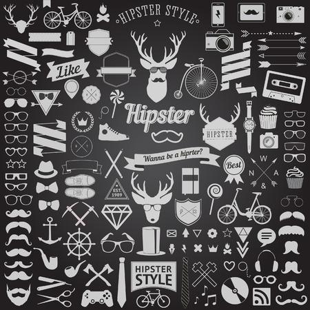 빈티지 스타일 된 디자인 유행을 좇는 사람의 거 대 한 세트 디자인을위한 자전거, 전화, 가제트, 선글라스, 콧수염, 앵커, 리본 및 다른 것들의 가장 큰