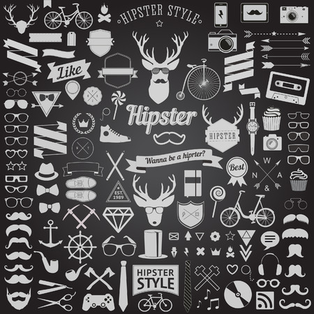 largest: Huge set of vintage styled design hipster icons  Vector signs and symbols templates for your design The largest set of bicycle, phone, gadgets, sunglasses, mustache, anchor, ribbons and other things Illustration