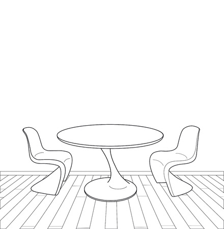 drawing table: sketch of modern interior vector illustration miscellaneous