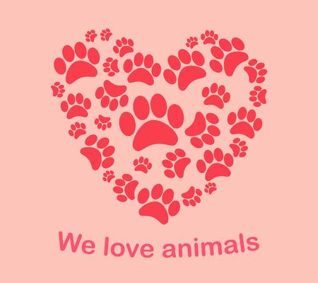 Heart animal s footprints   イラスト・ベクター素材