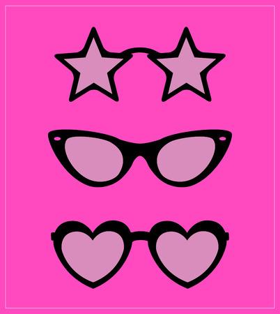 aviators: set of sunglasses illustration  Illustration