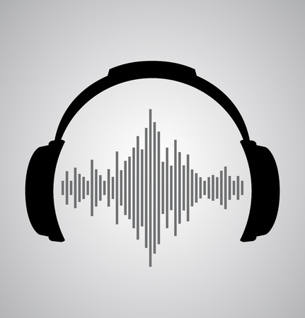 headphones icon with sound wave beats   イラスト・ベクター素材
