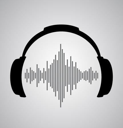 casque icône avec des battements d'ondes sonores