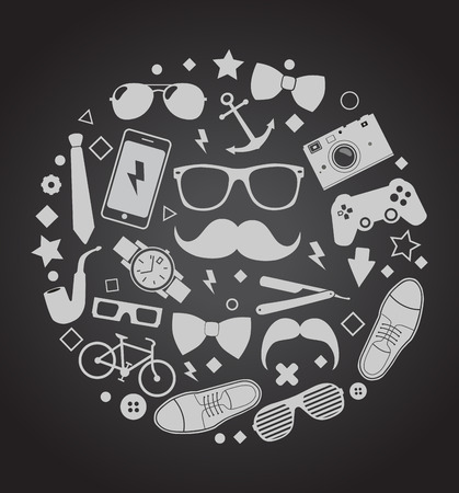 ray ban: Set of fashionable men s accessories illustration Illustration