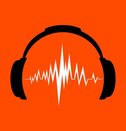 sonido: icono de los auriculares con ritmos de ondas de sonido
