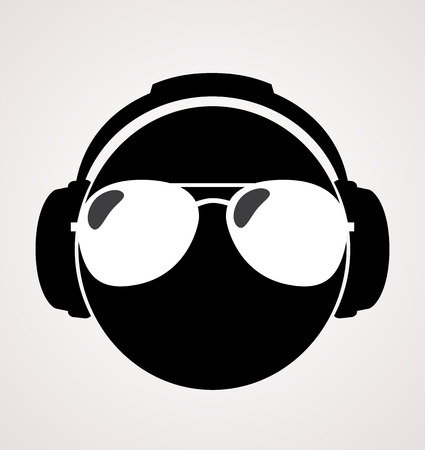 ray ban: men dj in headphone print illustration  Illustration