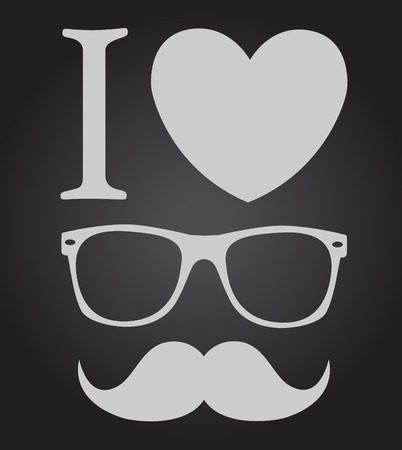 mustaches: print I love hipster style, glasses and mustaches   Illustration