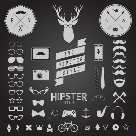 ray ban: Set of Vintage styled design Hipster icons   Illustration