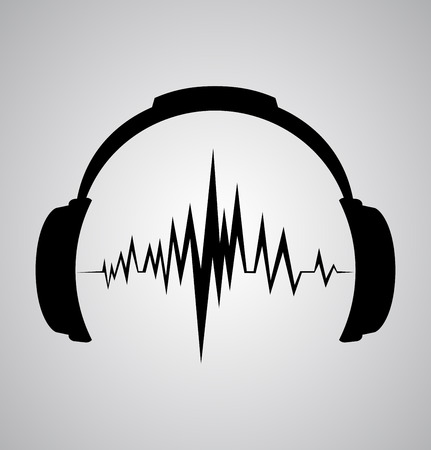 headphones icon with sound wave beats  Иллюстрация