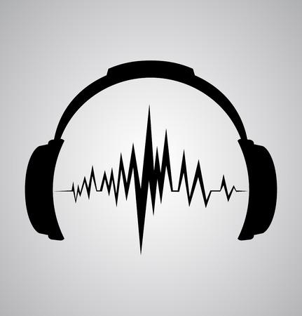 headphones icon with sound wave beats  Vector