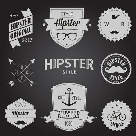 Set of Vintage styled design Hipster icons
