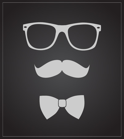 mustaches: Hipster style set bowtie, glasses and mustaches