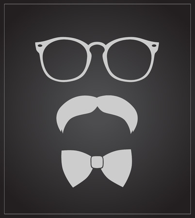 Hipster style set bowtie, glasses and mustaches