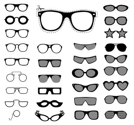 Set of sunglasses and glasses illustration    イラスト・ベクター素材