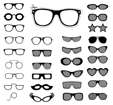 eyewear fashion: Set of sunglasses and glasses illustration   Illustration