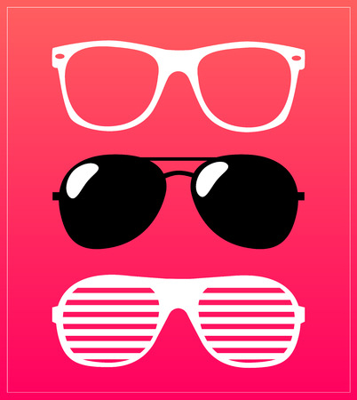 ray ban: set of sunglasses.  Illustration