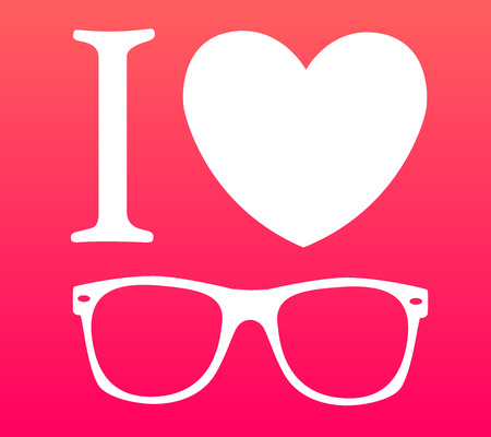 print I love sunglasses illustration background  Vector