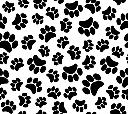black cat silhouette: background animal footprints  seamless pattern
