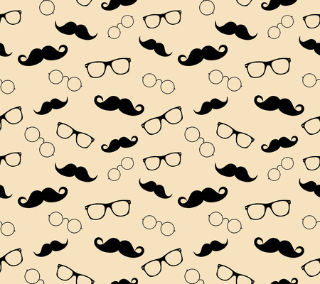 Hipster style pattern, glasses and mustaches  illustration background pattern