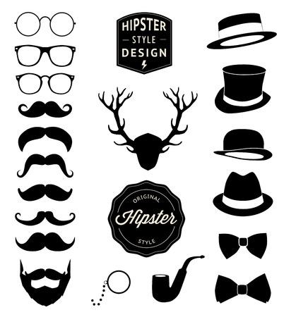 whisker characters: set of collection vintage fashion elements illustration  Illustration