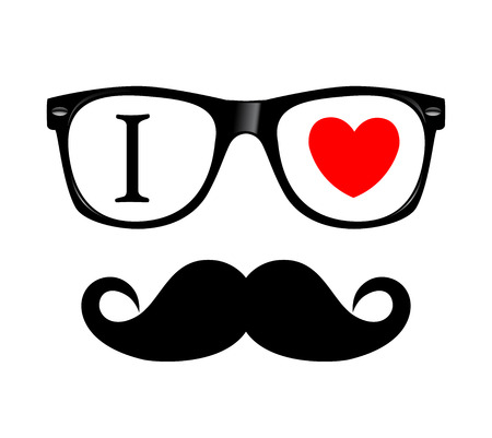 mustaches: print I love Hipster style, glasses and mustaches