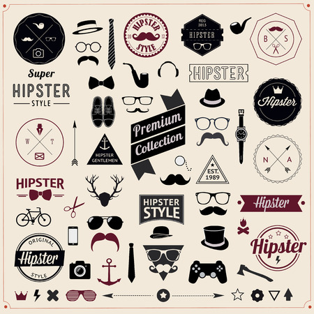 gentleman: Set of Vintage styled design hipster icons  Illustration