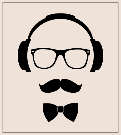 Hipster style set bowtie, glasses, mustaches, headphones  abstract illustration background  flat template   イラスト・ベクター素材