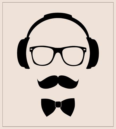 소식통 스타일 세트 나비 넥타이, 안경, 콧수염, 헤드폰 추상적 인 그림 배경 평면 템플릿