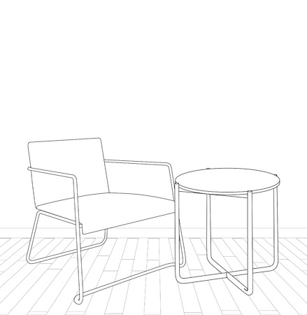 sketch of modern interior table and armchair.