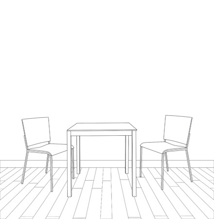 drafting table: sketch of modern interior table and chairs.