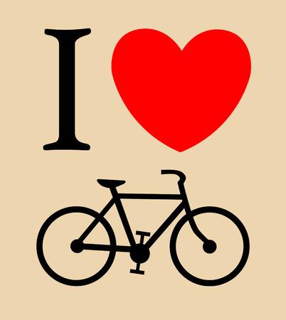 print I like bicycle Vector